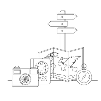 Viaggiare in tutto il mondo imposta icone
