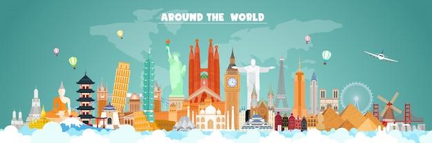 Viaggiare intorno al banner del mondo