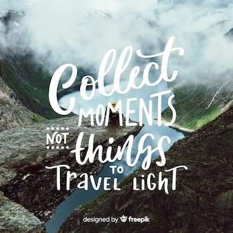 Viaggiare lettering con sfondo di foto