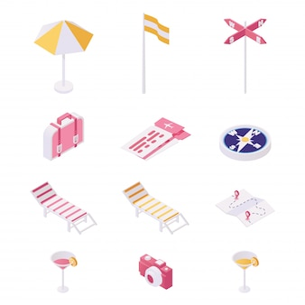 Viaggiare, set di illustrazione attrezzature turistiche. articoli da spiaggia giorno, elementi essenziali per turisti e viaggiatori stranieri isolati