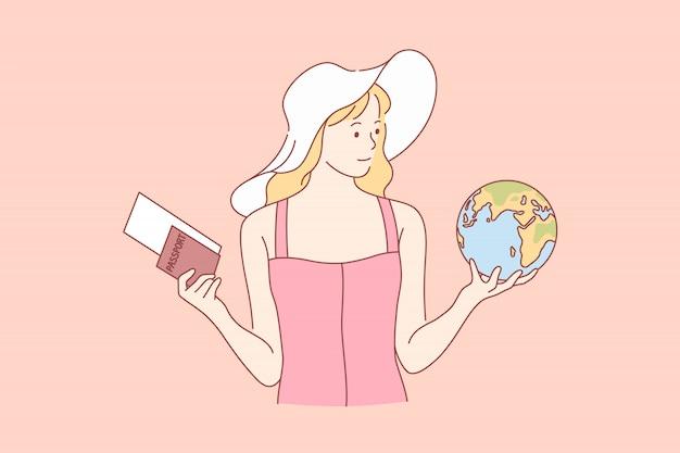 Viaggiare, turismo, vacanze, concetto di scelta