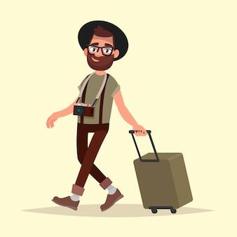 Viaggiatore aereo. l'uomo dei pantaloni a vita bassa con bagagli va all'aeroporto. illustrazione vettoriale in stile cartone animato