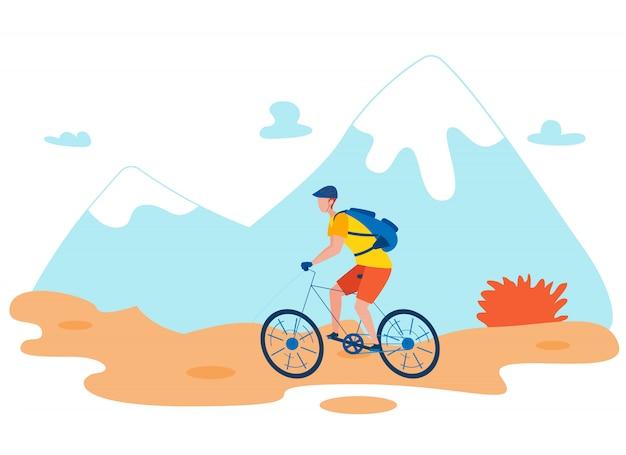 Viaggiatore con zaino e sacco a pelo bicicletta piatto vettoriale carattere