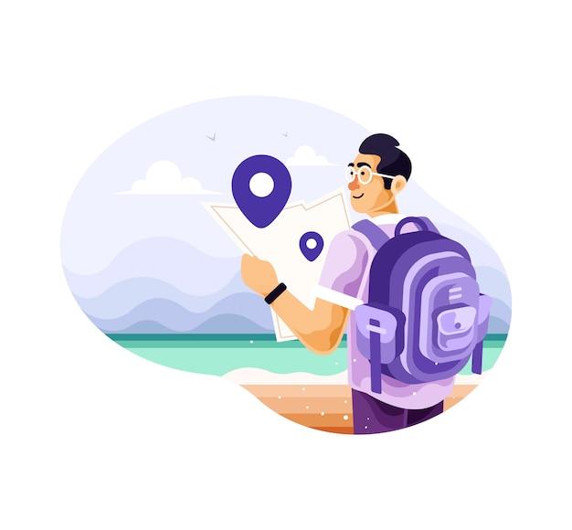 Viaggiatore con zaino e sacco a pelo dell'uomo da solo con le mappe