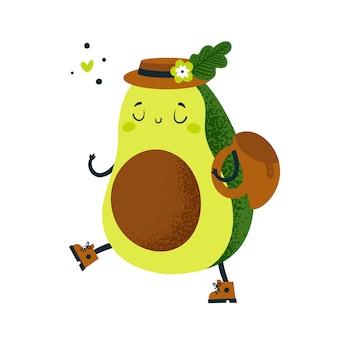 Viaggiatore di avocado carino andare all'avventura. diventa vegano. personaggio dei cartoni animati isolato