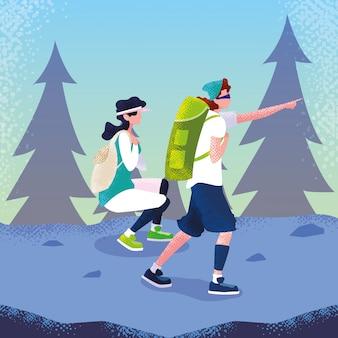 Viaggiatore di coppia nel personaggio di avatar di paesaggio