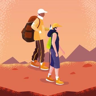Viaggiatore di uomini in carattere avatar paesaggio