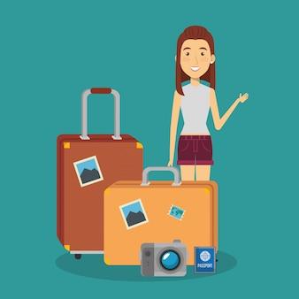 Viaggiatore donna con personaggi di valigie