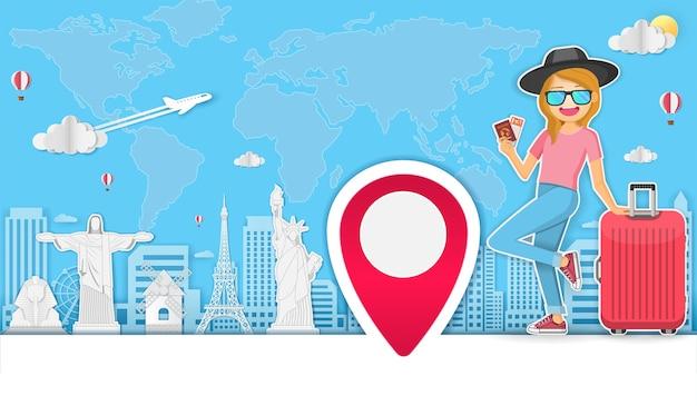 Viaggiatore donna viaggia intorno al concetto del mondo.