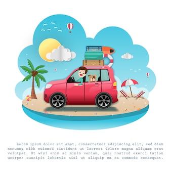 Viaggiatore simpatico cartone animato con bagagli.