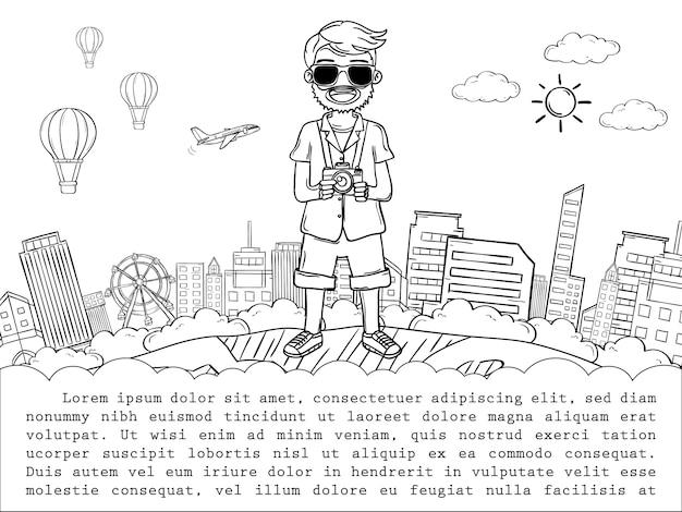 Viaggiatore sveglio del fumetto dell'uomo di tiraggio della mano di scarabocchio, viaggio intorno al concetto del mondo. disegnare a mano,
