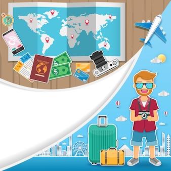 Viaggiatore uomo con bagagli sfondo.