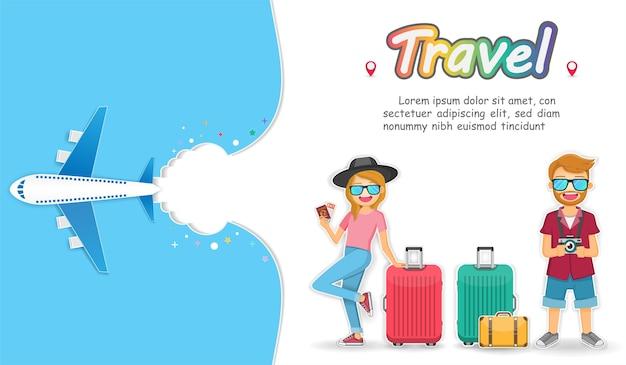Viaggiatore uomo e donna con bagagli sfondo.