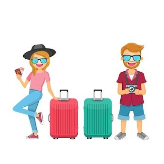 Viaggiatore uomo e donna con bagagli
