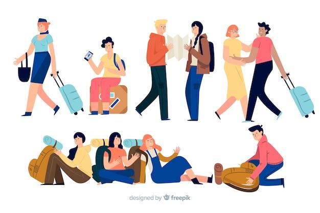 Viaggiatori che fanno diverse azioni