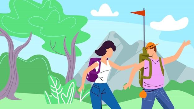 Viaggiatori con zaino e sacco a pelo della donna e dell'uomo con la bandiera che fa un'escursione l'illustrazione della natura