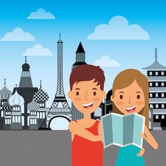 Viaggiatori coppia turistica con mappa vacanze monumenti sullo sfondo