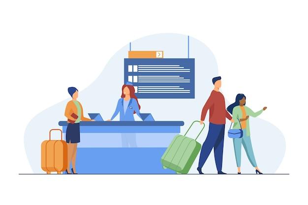 Viaggiatori felici che passano attraverso il banco di registrazione dei voli. viaggio, bagaglio, illustrazione vettoriale piatto bagagli. viaggi e vacanze