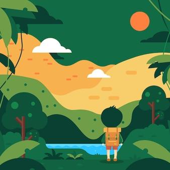 Viaggiatori nell'illustrazione piana di styl del paesaggio più verde di forrest