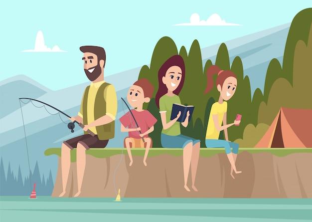 Viaggiatori per famiglie. coppia i bambini all'aperto degli esploratori con i genitori che fanno un'escursione il fondo di campeggio del fumetto di vettore