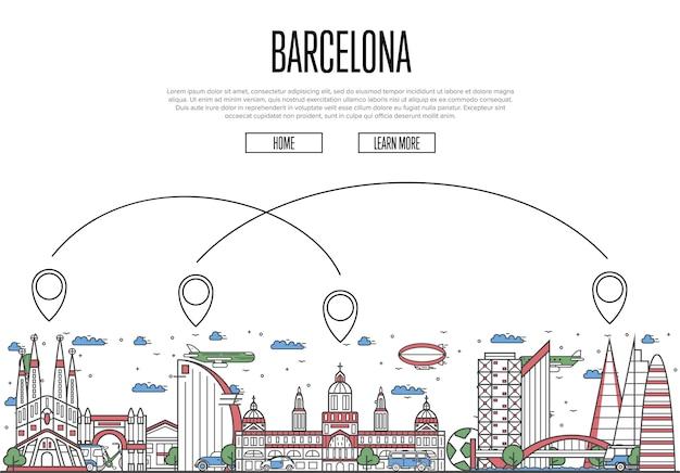 Viaggio aereo alla pagina web di barcellona in stile lineare