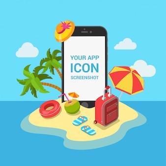 Viaggio aereo biglietti resort hotel prenotazione mobile app concetto. telefono sull'illustrazione di vettore della spiaggia dell'isola tropicale.