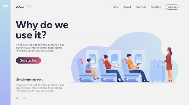 Viaggio aereo con illustrazione di comfort