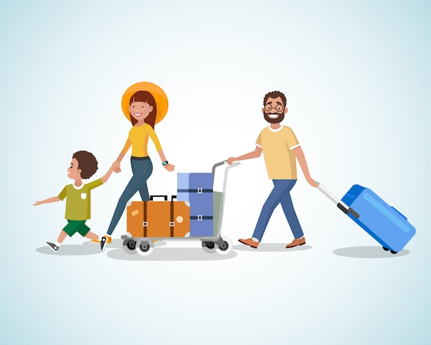 Viaggio con la famiglia con il concetto di vettore del fumetto del bagaglio