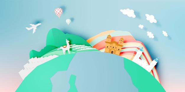 Viaggio del perù con arte di carta di machu picchu con l'illustrazione di vettore di combinazioni colori pastello