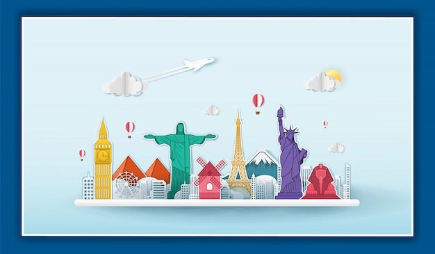 Viaggio del punto di controllo dell'aeroplano intorno al concetto del mondo su fondo blu