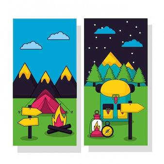 Viaggio di campeggio nell'insieme piano dell'illustrazione di stile