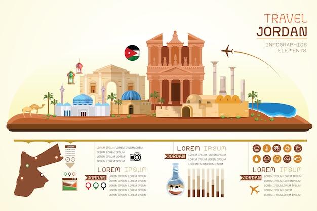 Viaggio di infografica e design del modello di punto di riferimento della giordania.