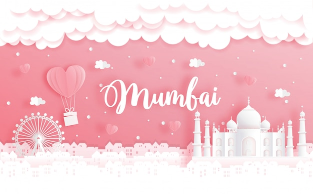 Viaggio di nozze e concetto di san valentino con il viaggio a mumbai, in india