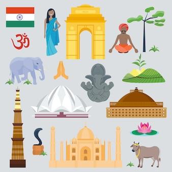 Viaggio e viaggio globali del punto di riferimento dell'india. bello simbolo tradizionale di architettura dell'asia della cultura della facciata. edificio orientale dettagliato e animali.