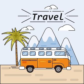 Viaggio estivo del bus sull'illustrazione di vacanza estiva