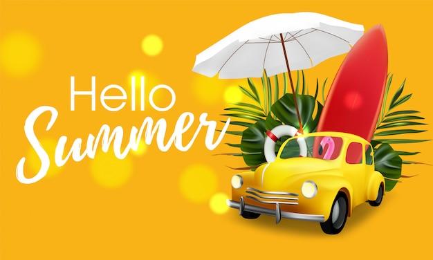 Viaggio estivo in auto con palla, fenicottero e serfboard. palma della bandiera della giungla di vendita e fondo tropicale. camper estivo in auto
