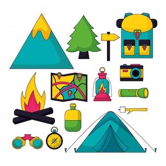 Viaggio in campeggio in stile piatto