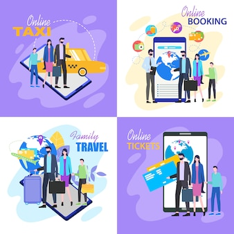 Viaggio in famiglia acquista biglietto aereo online prenota un taxi in albergo