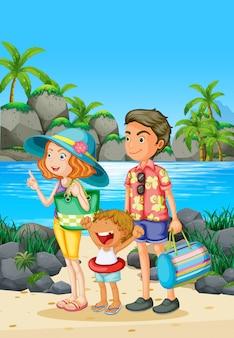 Viaggio in famiglia con genitori e bambini in spiaggia