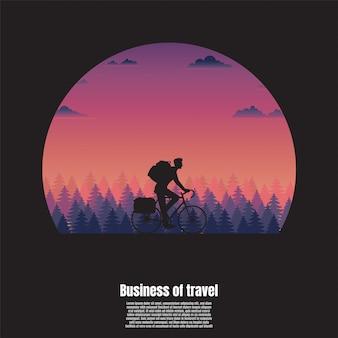 Viaggio in silhouette di un uomo ciclista
