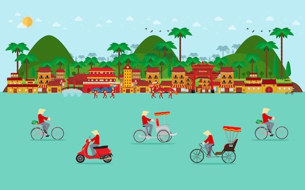 Viaggio in vietnam, trasporto in vietnam. bicicletta, triciclo, scooter. design piatto