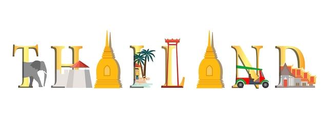 Viaggio infografica infografica di thailandia, lettering thailandia e monumenti famosi