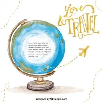 Viaggio intorno al mondo di fondo acquerello