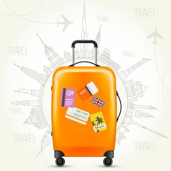 Viaggio intorno al mondo: poster di viaggio, valigia e mondo di monumenti