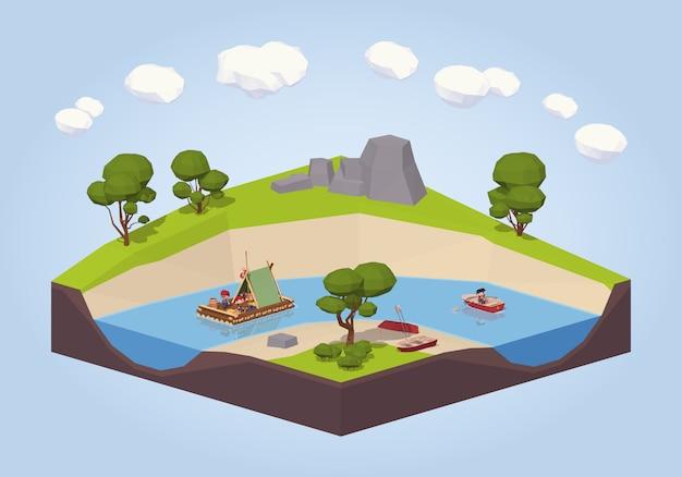 Viaggio isometrico lowpoly 3d giù il fiume su una zattera e un punt