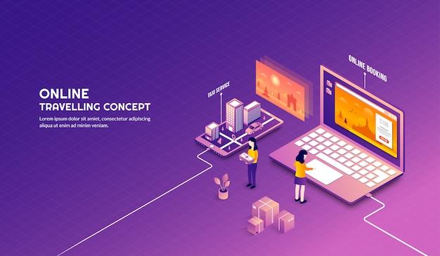 Viaggio online isometrico e concetto di design di prenotazione