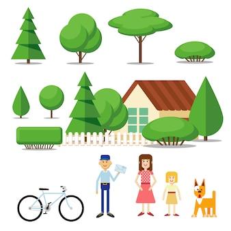 Viaggio piatto e casa di campagna con elementi geometrici nel paesaggio
