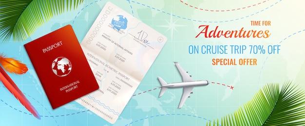 Viaggio realistico nel passaporto che annuncia composizione realistica con tempo per l'illustrazione di offerta speciale di avventure