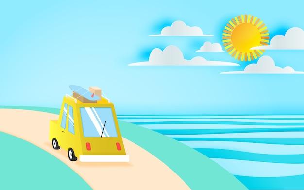 Viaggio su strada sulla spiaggia con stile di arte di carta e combinazione di colori pastello illustrazione vettoriale