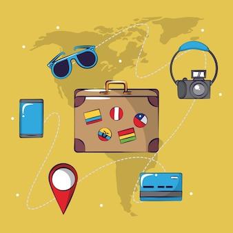 Viaggio turistico eccitante sfondo carta di viaggio